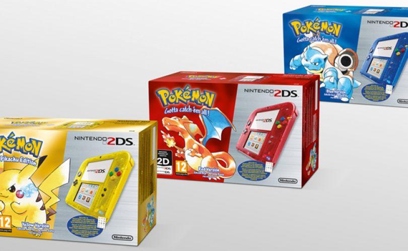 I Nintendo 2DS di Pokémon Rosso, Blu e Giallo arrivano in Italia