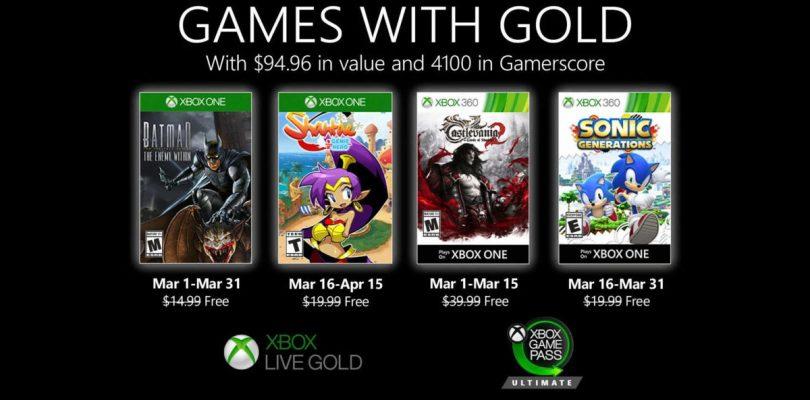 Il programma Games with Gold per Xbox a marzo conterrà Castlevania e Sonic