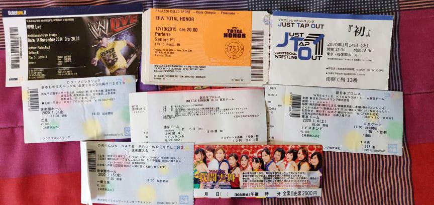 Solo alcuni esempi di biglietti degli eventi che ho visto dal vivo.