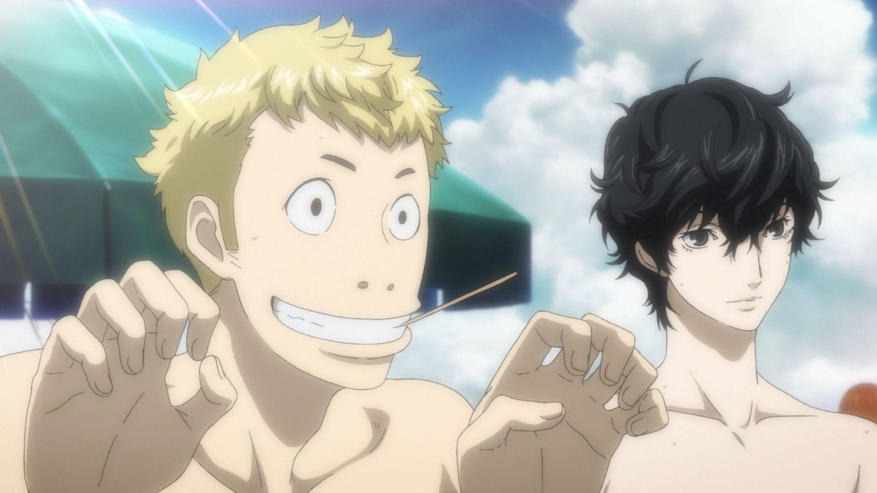 Cutscene animata con Ryuji e il protagonista, Persona 5 Royal