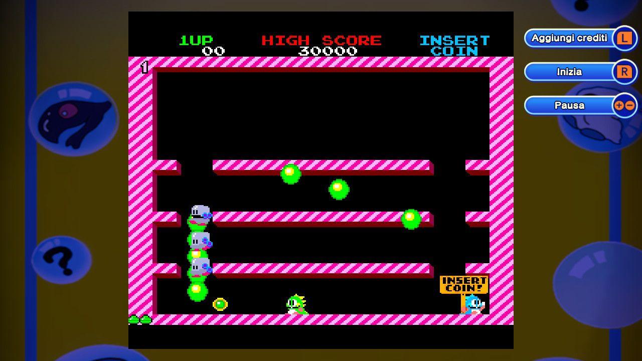 Una schermata del Bubble Bobble originale