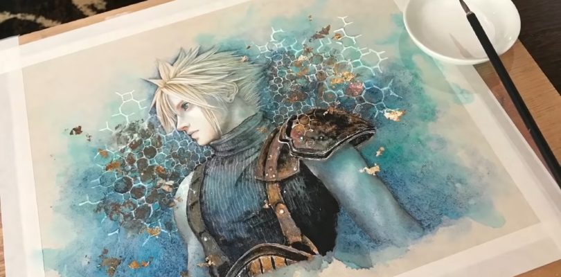 FINAL FANTASY VII REMAKE: Miwa Hiduki illustra Cloud con tecniche tradizionali