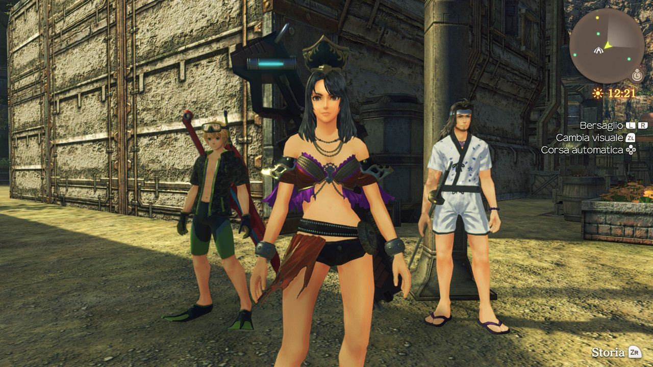 Sharla, Reyn e Dunban con i costumi ottenuti nella modalità Contro il Tempo