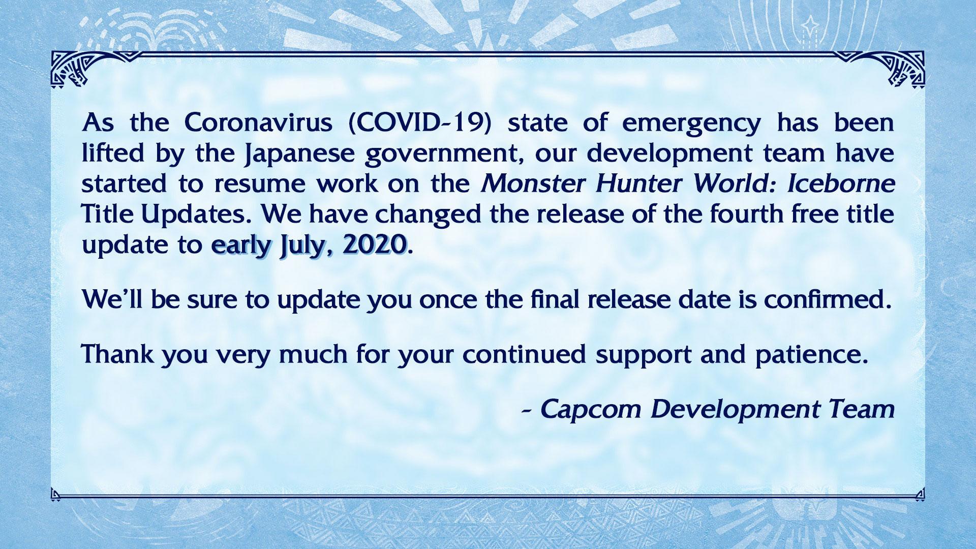 MONSTER HUNTER WORLD: ICEBORNE, il quarto aggiornamento arriverà a luglio