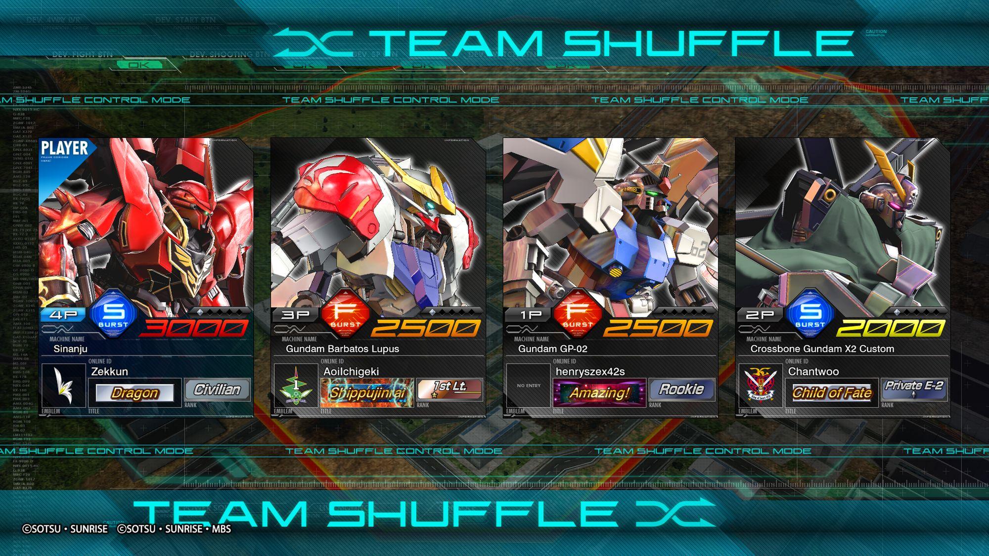 Team Shuffle - MOBILE SUIT GUNDAM EXTREME VS. MAXIBOOST ON