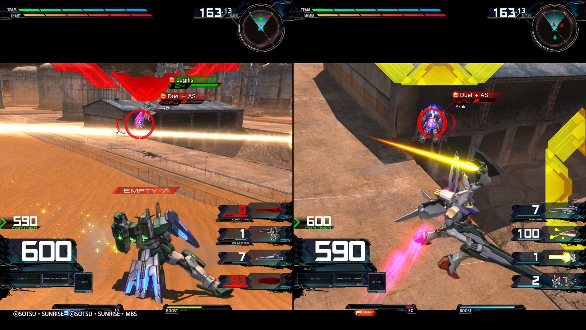 Cherudim Gundam e Legilis Gundam, split-screen multiplayer
