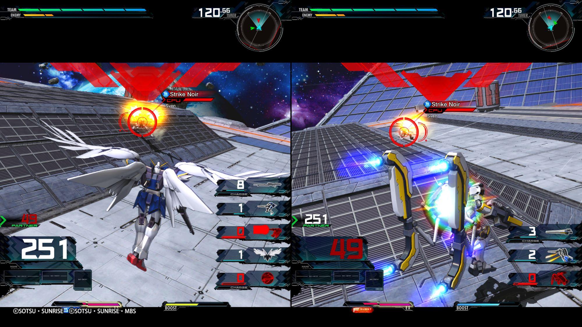 Wing Zero EW e Atlas Gundam, split-screen multiplayer