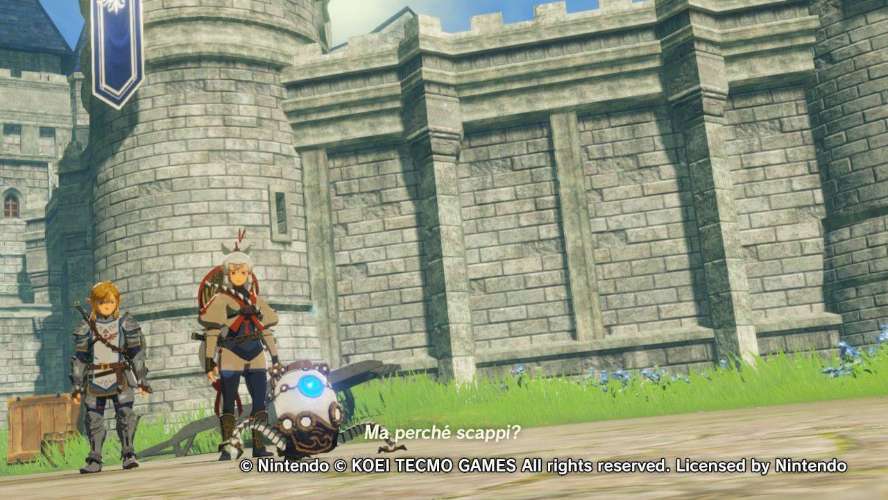 Link, Impa e il piccolo Guardiano in Hyrule Warriors: L'era della calamità