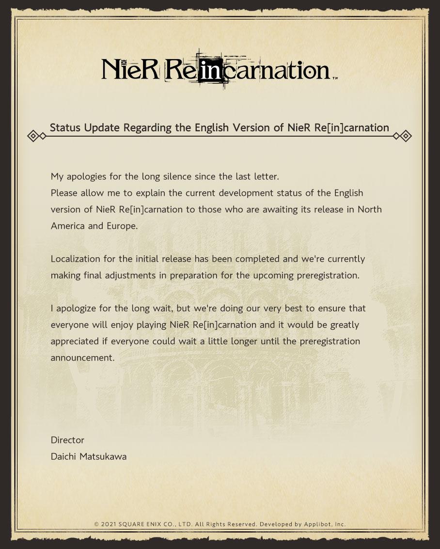 NieR Re[in]carnation: i lavori per la versione occidentale sono quasi terminati