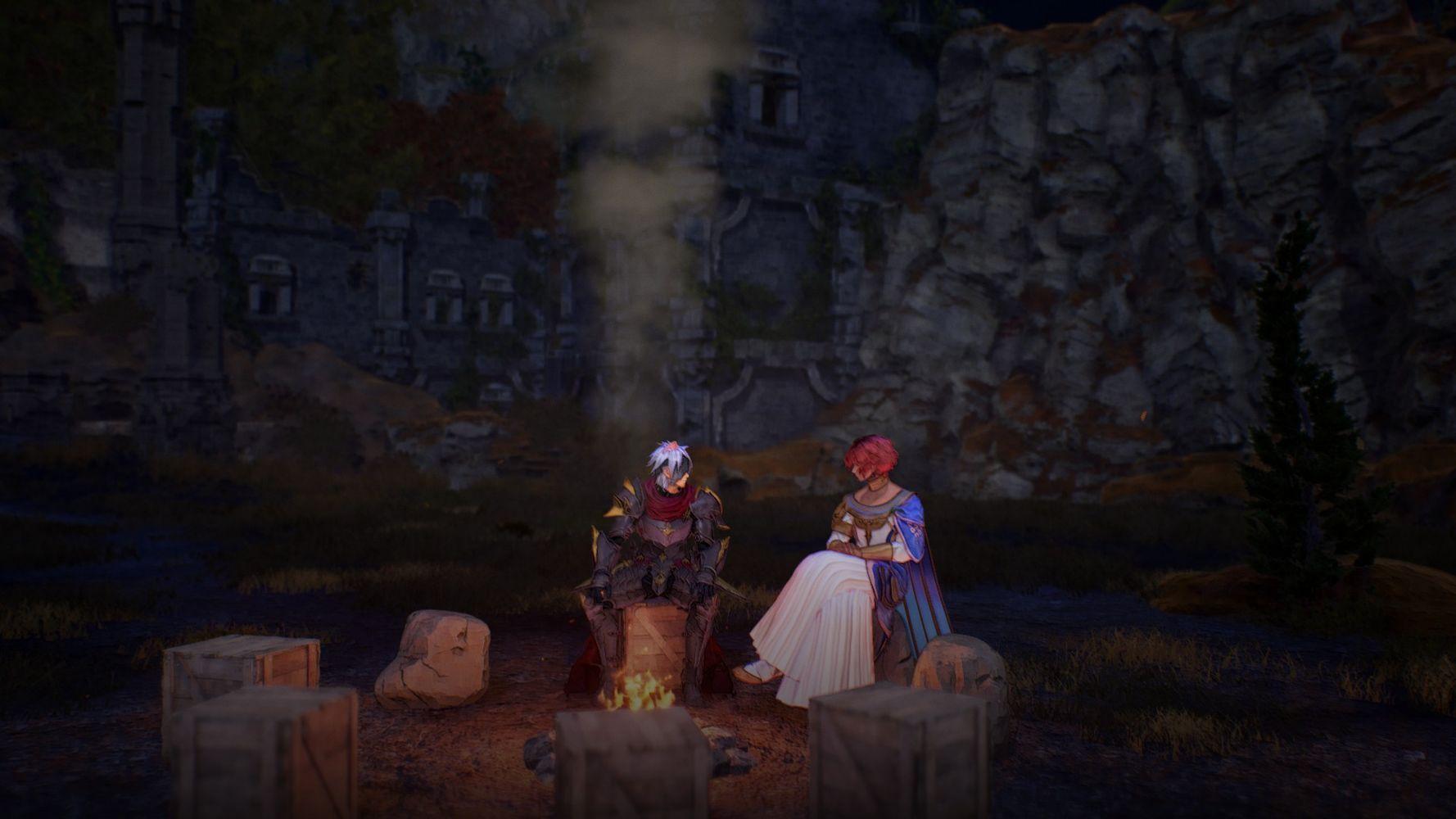 Alphen e Dohalim si godono un momento di riposo in TALES of ARISE